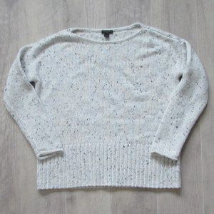 Ann Taylor Factory White & Black Marled Sweater M